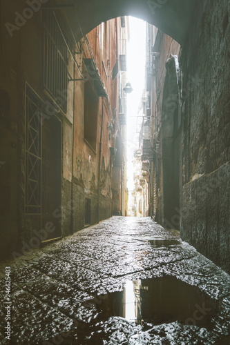 Poster de jardin Ruelle etroite NAPLES, ITALY - January 15, 2018 : Street view of old town in Naples city, Italy
