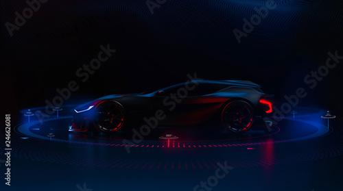 Fotografia Futuristic hi tech sports car (3D Illustration)