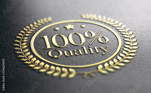 Obraz High Quality Guarantee Golden Stamp, Guaranteed Satisfaction Concept - fototapety do salonu