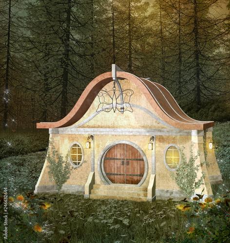 Fotografie, Obraz  Fantasy enchanted house in a blooming forest - 3D illustration