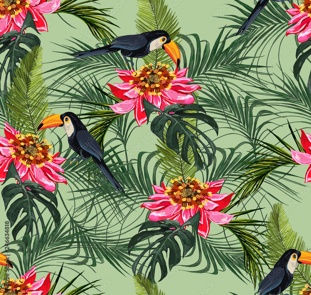 Tropical seamless pattern with leaves and red parrot bird