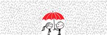 Valentinstag - Liebespaar Unter Regenschirm Im Regen