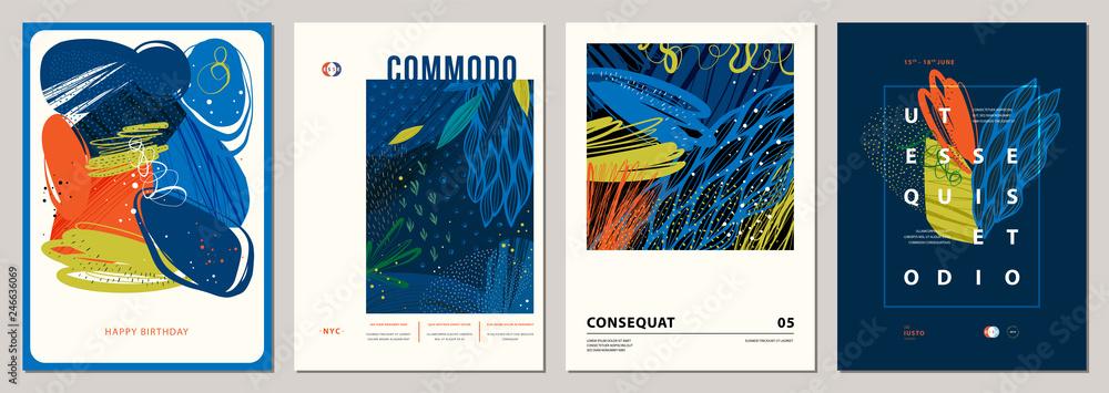 Fototapeta Set of abstract creative universal artistic templates.