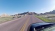 Driving through Badlands National Park in South Dakota.