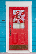 Vibrant Red Glass Paned Front Door With Wreath