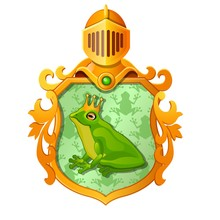Golden Ornate Coat Of Arms Or Emblem With The Image Of A Green Frog In The Royal Crown Isolated On White Background. Vector Cartoon Close-up Illustration.