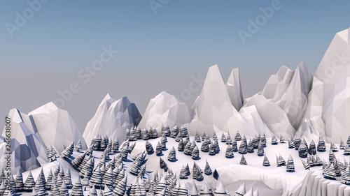 Foto auf AluDibond Dunkelgrau Low poly forest landscape. Illustration in light colors. Spruce forest and mountains. 3d render