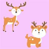 cute deer character cartoon flat