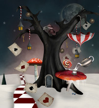 Wonderland Series - Winter Tree With Mushrooms And Playing Cards - 3D Mixed Media Illustration