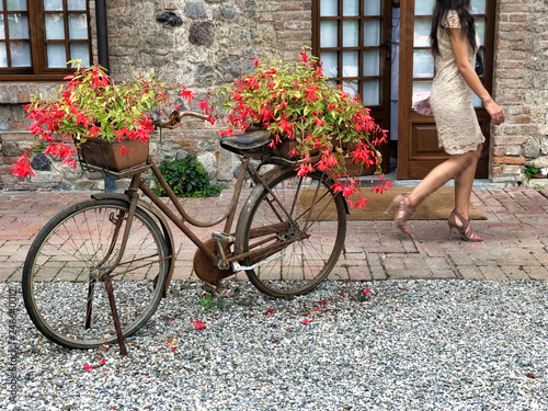 Türaufkleber Fahrrad old bicycle as flowerpot decorating a country courtyard