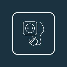 Socket Icon Line Symbol. Premium Quality Isolated Plug Element In Trendy Style.