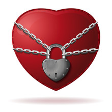 Heart Is Locked. Heart Is Wrapped With A Chain And Closed With A Padlock. Red Heart Locked With Chain. Love Concept. Vector Illustration