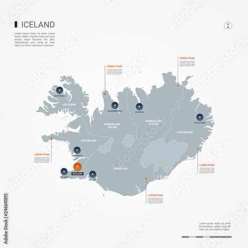 Iceland map with borders, cities, capital and administrative ...