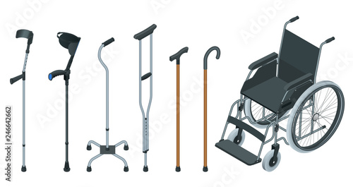 Photo  Isometric set of mobility aids including a wheelchair, walker, crutches, quad cane, and forearm crutches