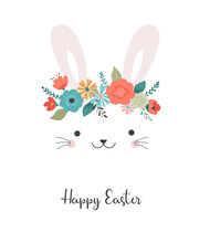 Happy Easter Card - Cute Bunny...