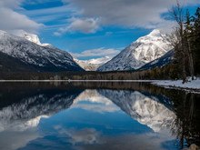 Mount Cannon And Mount Vaught In Full Reflection On Lake McDonald