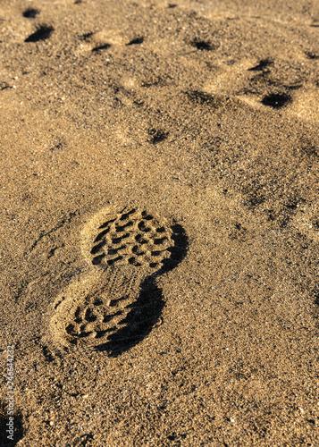 Cuadros en Lienzo Footprints in the sand, walking on the moon