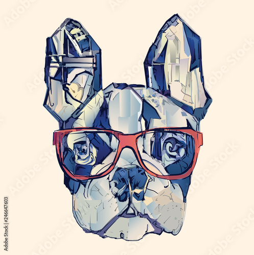 Deurstickers Art Studio French bulldog in blue