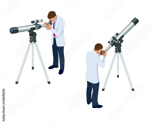 Isometric astronomer through the telescope looks at the sky isolated on white ba Canvas Print