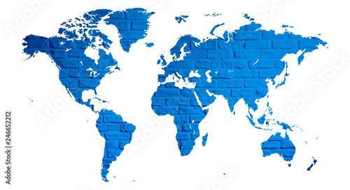 Fototapeta mapa świata z cegły jako plakat lub grafika na ścianę  obraz