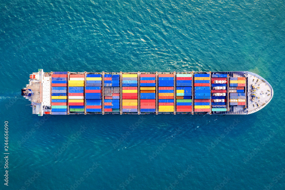 Fototapety, obrazy: Aerial view of container cargo ship in sea.