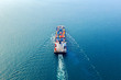 canvas print picture - Aerial view of container cargo ship in sea.