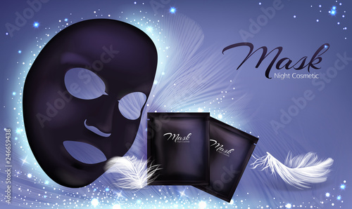 Vector 3d Realistic Banner With Black Sheet Facial Cosmetic Mask