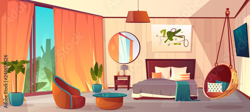 Vector cartoon interior of cozy hotel bedroom with furniture - double bed, carpet and fireplace Fototapeta