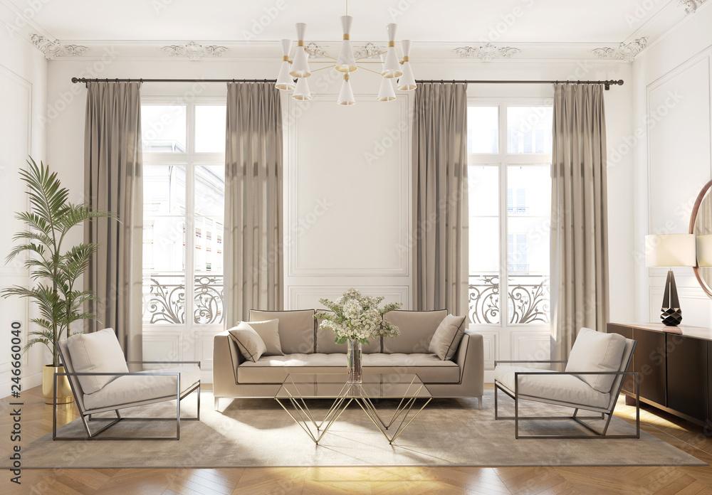 Fototapety, obrazy: Elegant style Parisian interior, living room