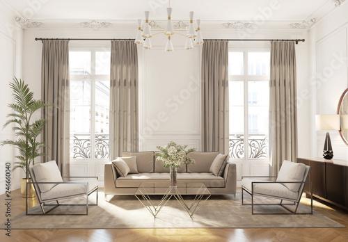 Fotomural  Elegant style Parisian interior, living room