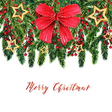 Merry Christmas,fir Branches,christmas Red Berries, Red Bow,gold Stars,watercolor Illustrations,handmade,card For You