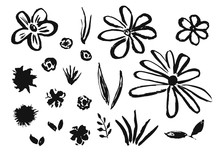 Set Of Hand Drawn Chinese Ink Flowers And Grass. Sketch Inky Floral Blossoms And Leaves Elements Texture For Pattern Design, Greeting Card Decoration, Logo