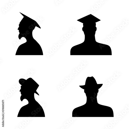 human head silhouettes in different hats. set 6 Wallpaper Mural