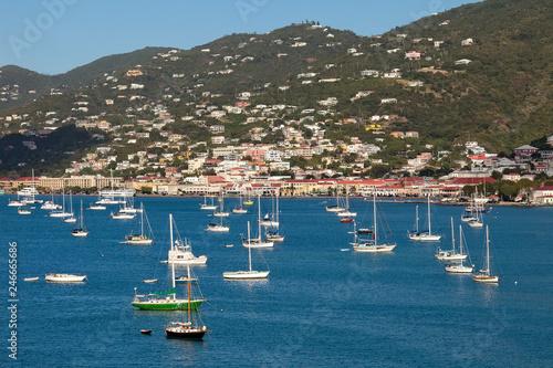 Fotografie, Obraz  Luxury Boats in the Harbor of St. Thomas, USVI