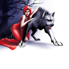 Girl In A Red Hood Hugs A Wolf...