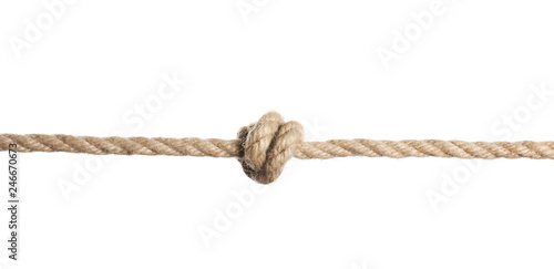 Rope with knot on white background. Simple design