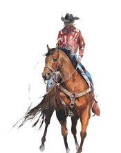 Cowboy Riding A Horse Texas  Rodeo Horse Race Sport American Traditions Watercolor Painting Isolated On White Background