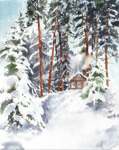 Winter Forest Cabin In The Woods Snow Landscape Watercolor Painting Illustration