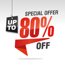 80 Percent Off Special Offer Sale Isolated Red Black Grey Origami Speech Sticker Icon
