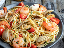 Cooked Pasta With Seafood Clam...