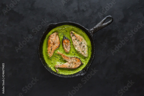 Grilled green masala fish.