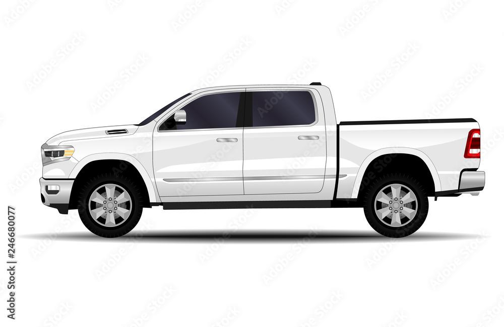 Fototapety, obrazy: realistic car. truck, pickup. side view.