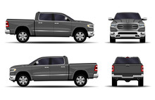 Realistic Car. Truck, Pickup. Front View; Side View; Back View.