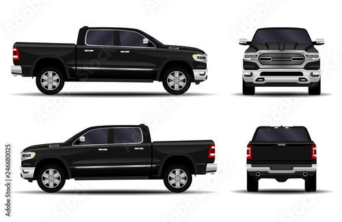 Obraz realistic car. truck, pickup. front view; side view; back view. - fototapety do salonu