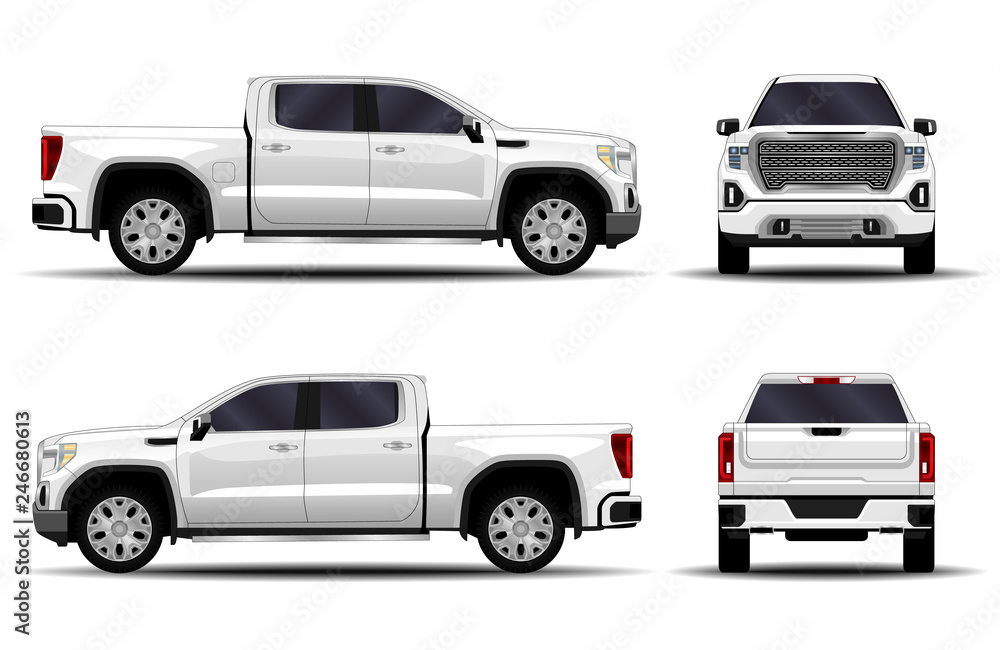 Fototapety, obrazy: realistic car. truck, pickup. front view; side view; back view.