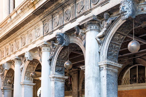 Fotobehang Centraal Europa Row of arches and columns at facade at San Marco square in Venice