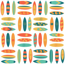 Surfboard Seamless Vector Back...