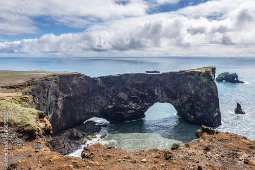 Famous rock formation on a Dyrholaey cape in south region of Iceland
