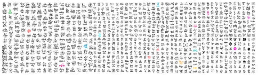 Fototapeta mega set of 800 hand lettering inscriptions  motivation and inspiration positive quotes