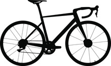 Climbing Road Bike With Disc Brakes - Silhouette. Vector Illustration. - Vector